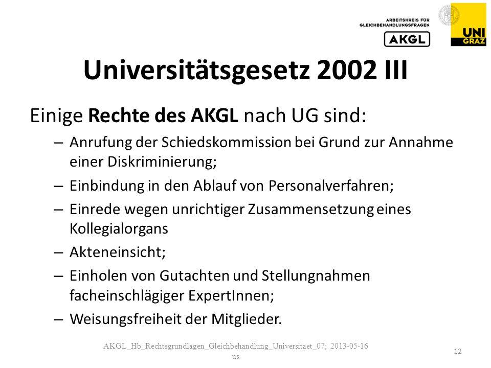 Universitätsgesetz 2002 III