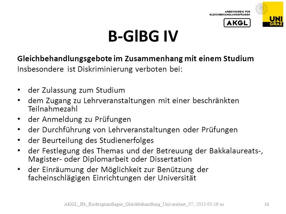 B-GlBG IV Gleichbehandlungsgebote im Zusammenhang mit einem Studium