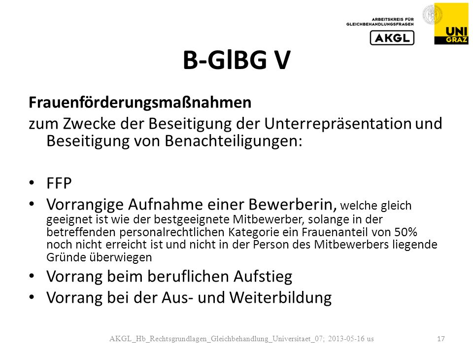 B-GlBG V Frauenförderungsmaßnahmen