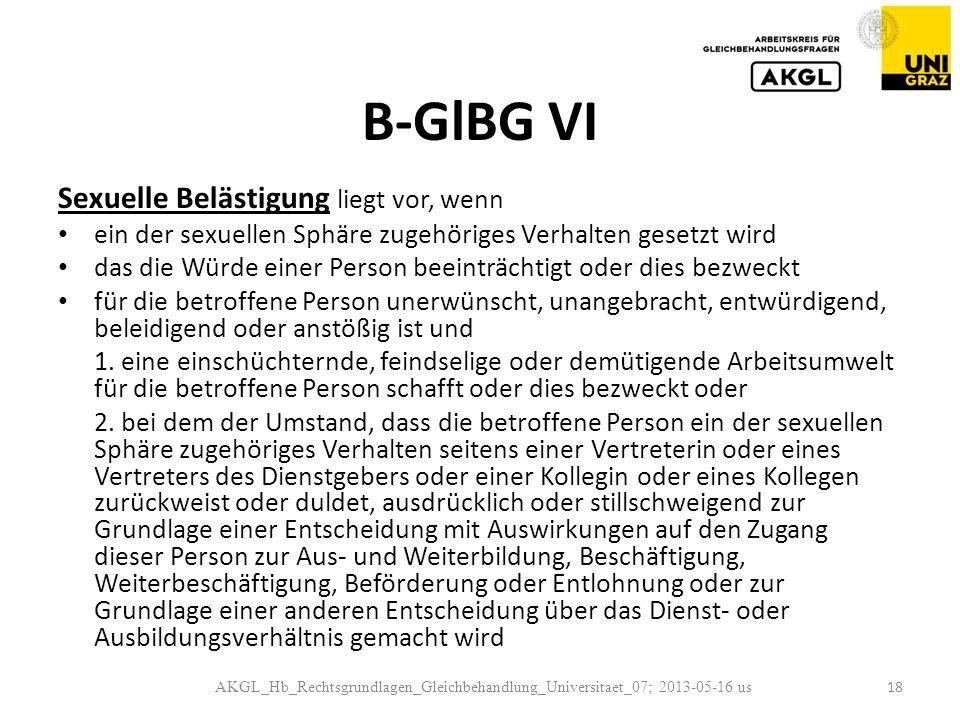 B-GlBG VI Sexuelle Belästigung liegt vor, wenn