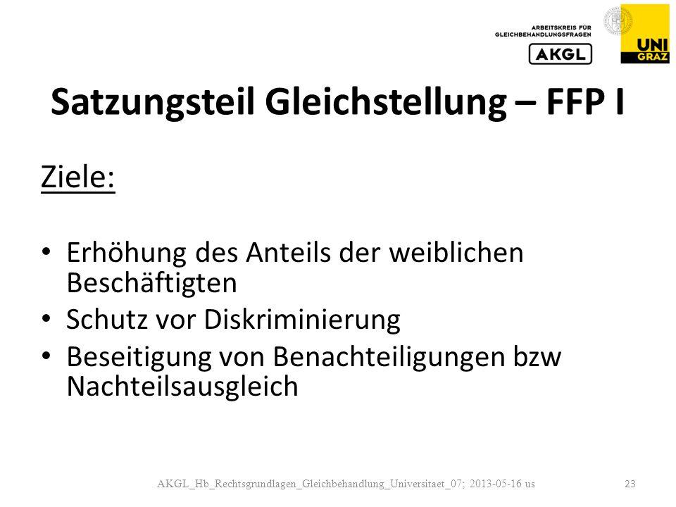 Satzungsteil Gleichstellung – FFP I