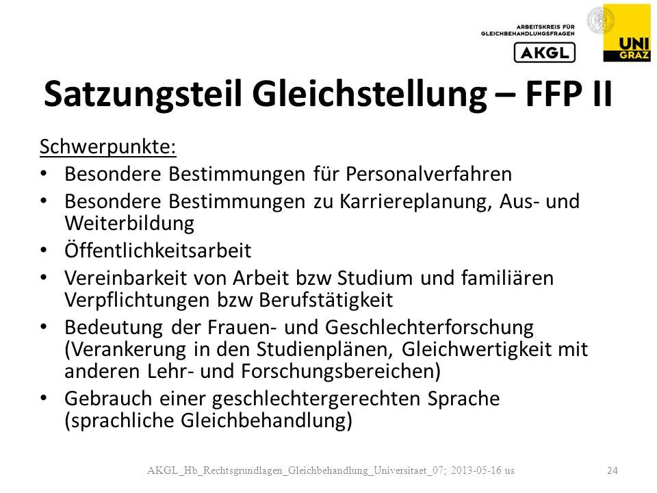 Satzungsteil Gleichstellung – FFP II