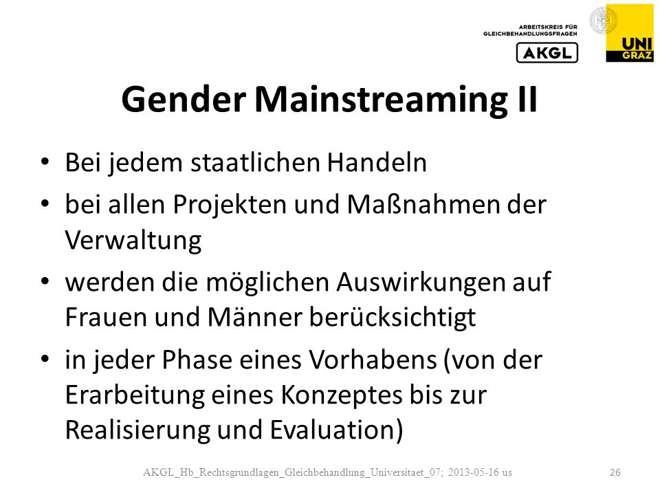 Gender Mainstreaming II