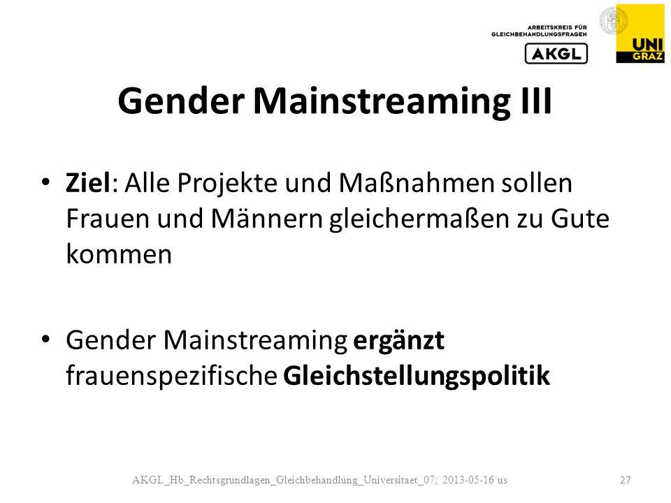 Gender Mainstreaming III