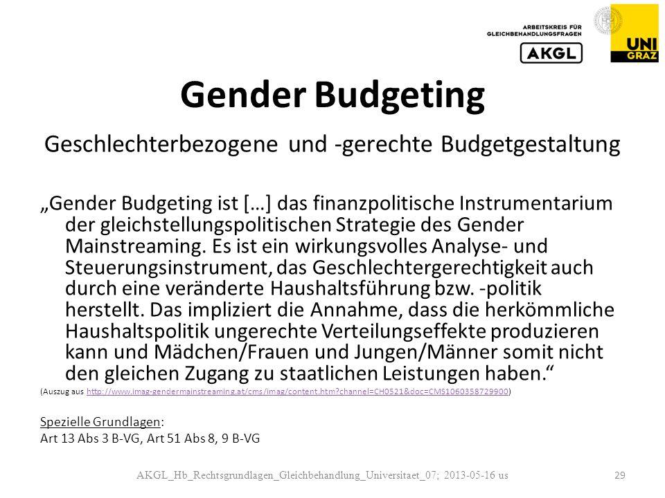 Geschlechterbezogene und -gerechte Budgetgestaltung