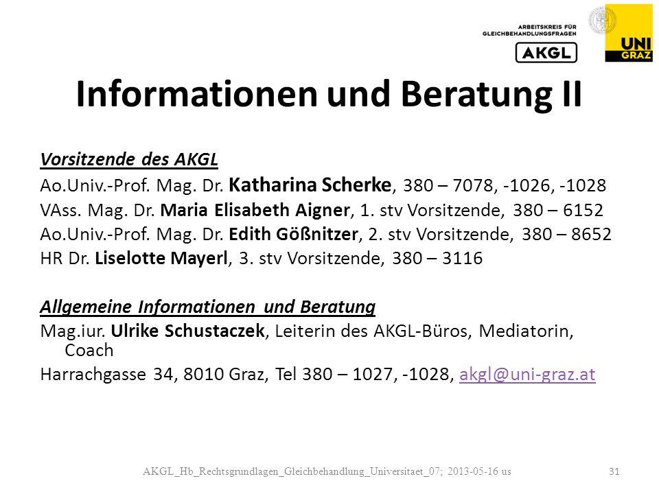 Informationen und Beratung II