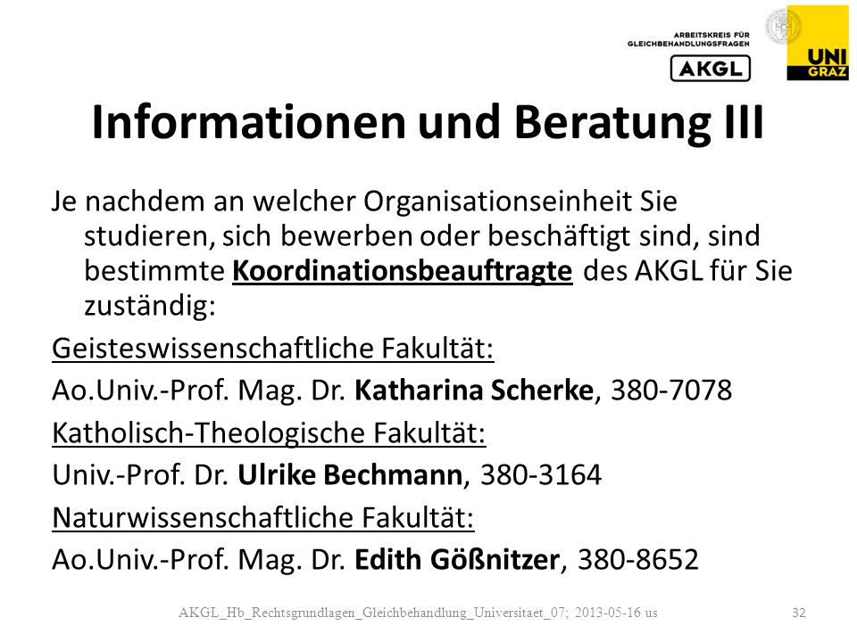 Informationen und Beratung III