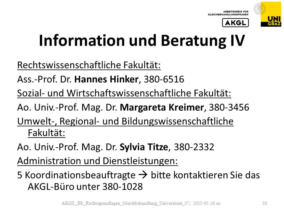Information und Beratung IV