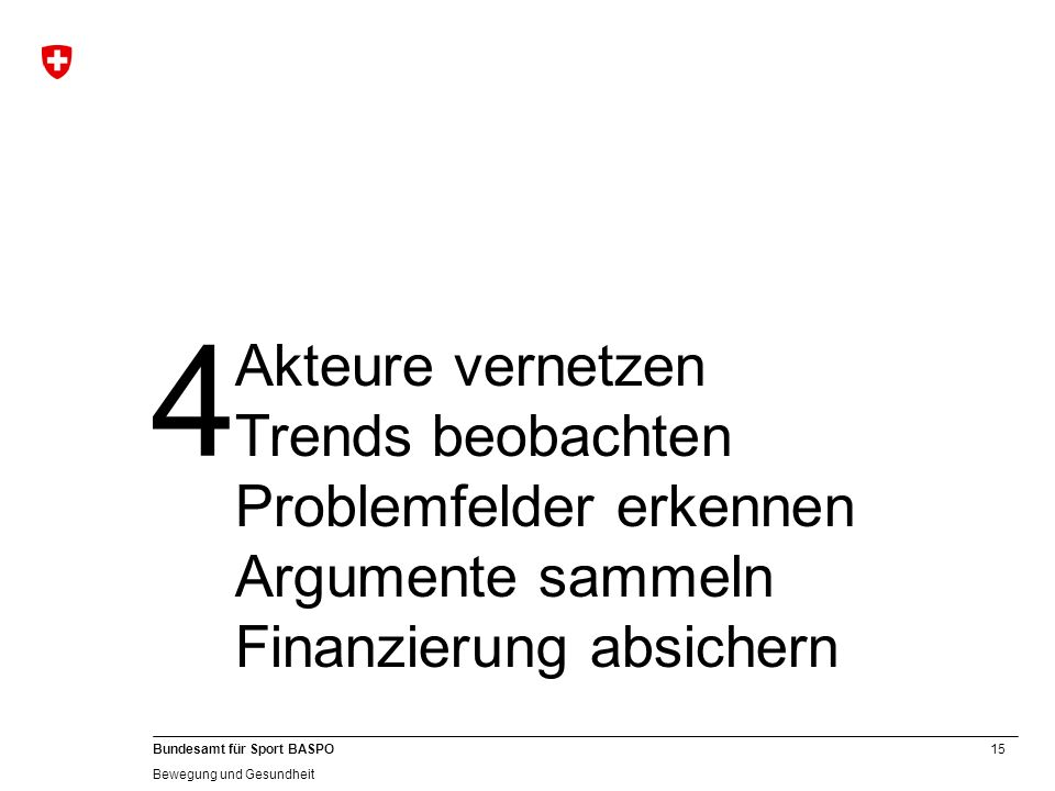 4 Akteure vernetzen Trends beobachten Problemfelder erkennen