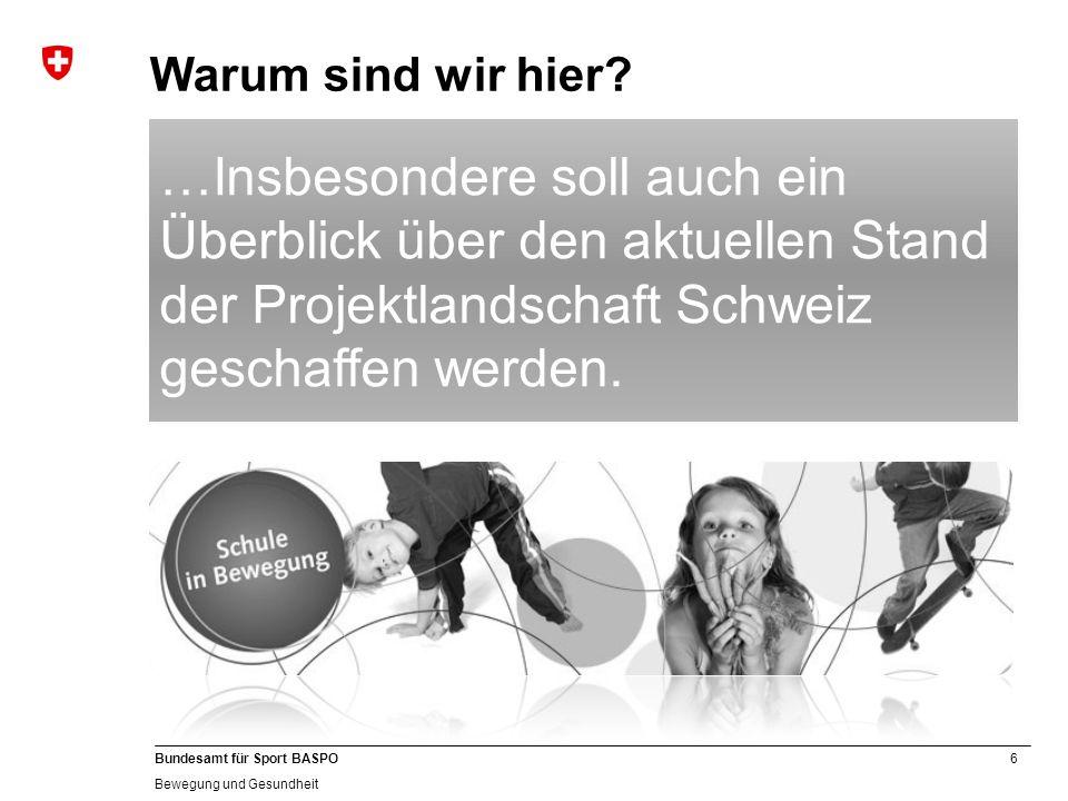 Warum sind wir hier …Insbesondere soll auch ein Überblick über den aktuellen Stand der Projektlandschaft Schweiz geschaffen werden.