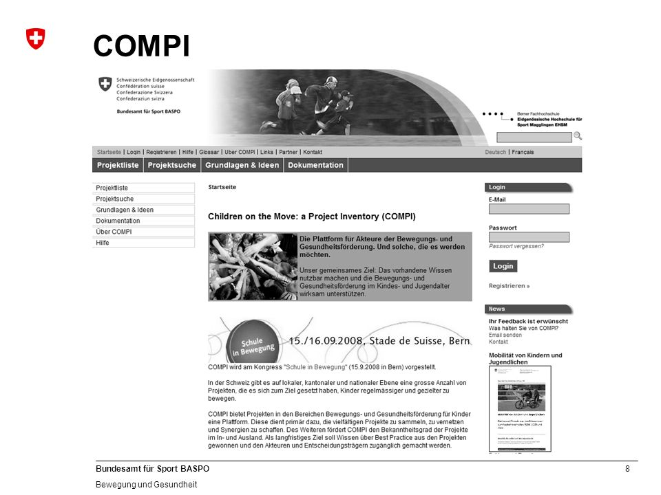 COMPI Das ist die Startseite von COMPI. 2 Sprachen (+ Englisch)