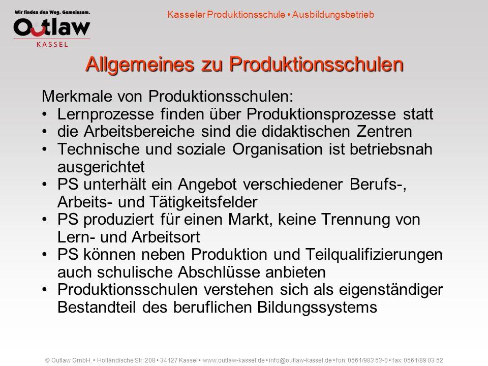 Allgemeines zu Produktionsschulen