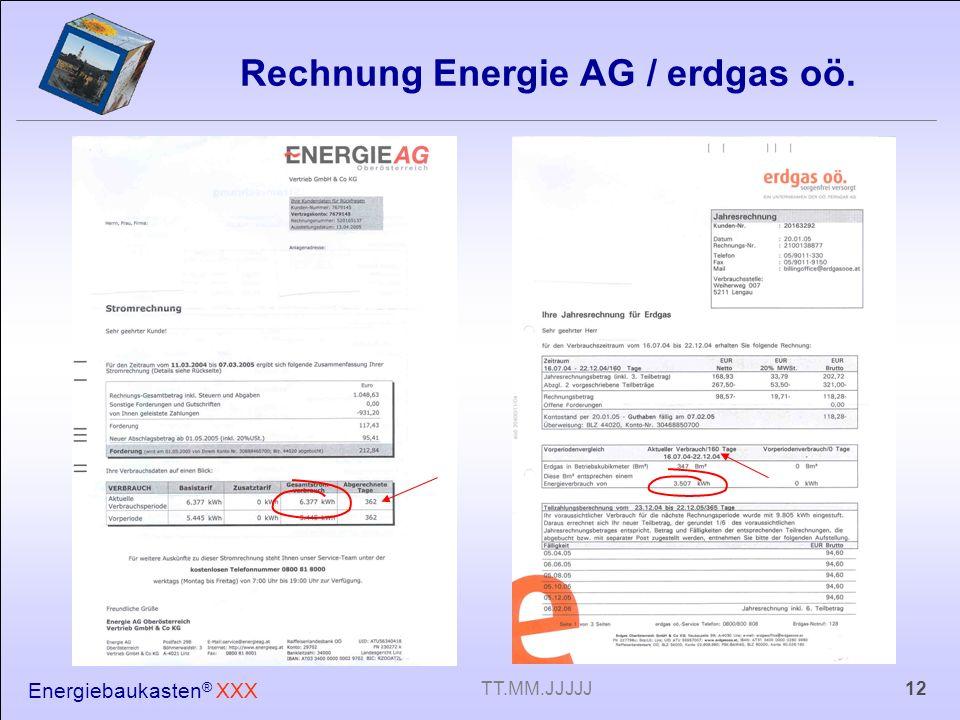 Rechnung Energie AG / erdgas oö.