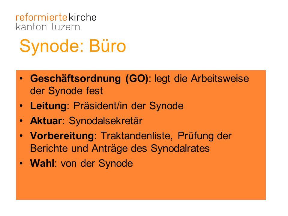 Synode: Büro Geschäftsordnung (GO): legt die Arbeitsweise der Synode fest. Leitung: Präsident/in der Synode.