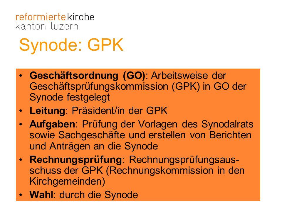 Synode: GPK Geschäftsordnung (GO): Arbeitsweise der Geschäftsprüfungskommission (GPK) in GO der Synode festgelegt.