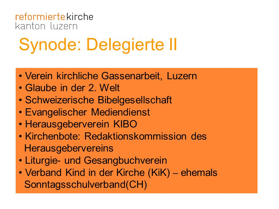 Synode: Delegierte II Verein kirchliche Gassenarbeit, Luzern