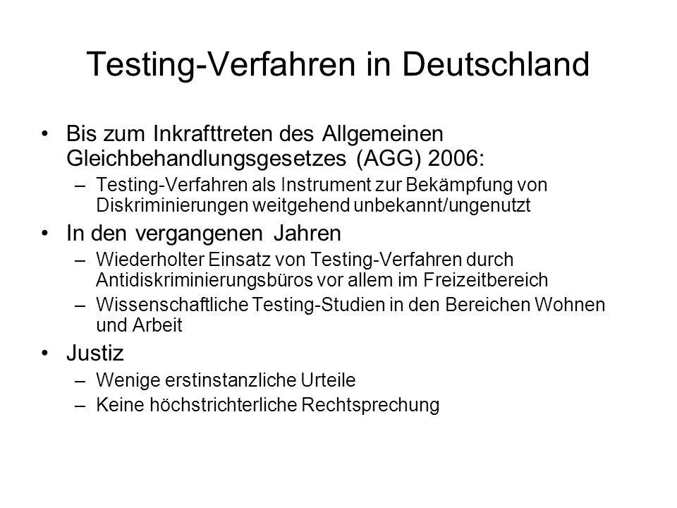 Testing-Verfahren in Deutschland