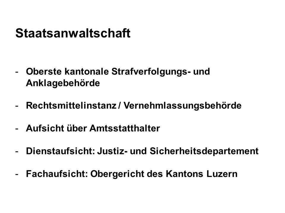 Staatsanwaltschaft Oberste kantonale Strafverfolgungs- und Anklagebehörde. Rechtsmittelinstanz / Vernehmlassungsbehörde.