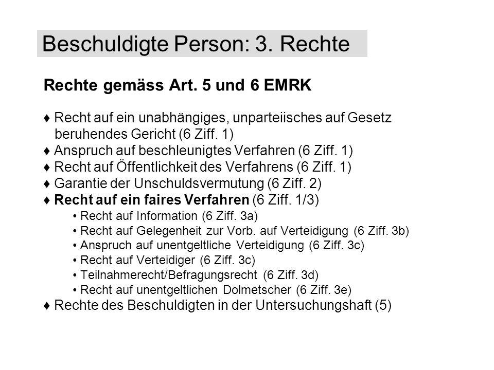 Beschuldigte Person: 3. Rechte