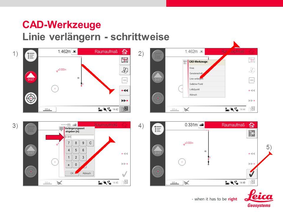 CAD-Werkzeuge Linie verlängern - schrittweise