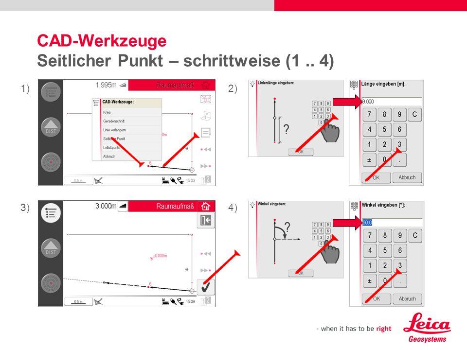 CAD-Werkzeuge Seitlicher Punkt – schrittweise (1 .. 4)