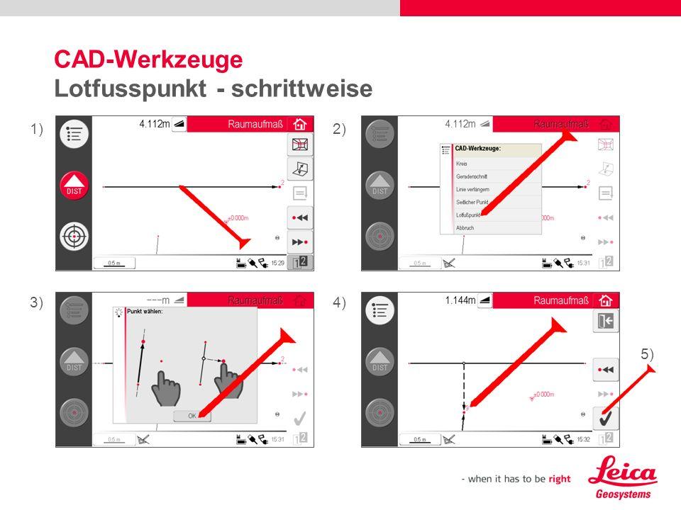 CAD-Werkzeuge Lotfusspunkt - schrittweise