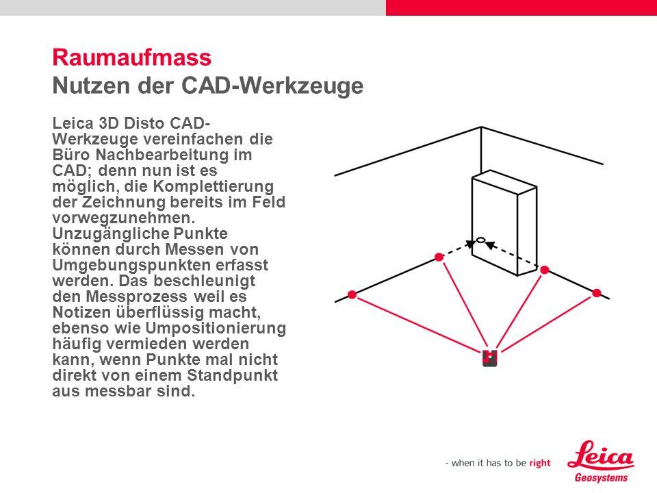 Raumaufmass Nutzen der CAD-Werkzeuge