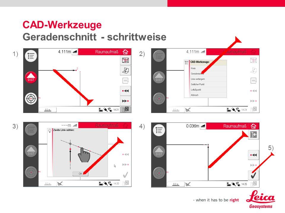 CAD-Werkzeuge Geradenschnitt - schrittweise
