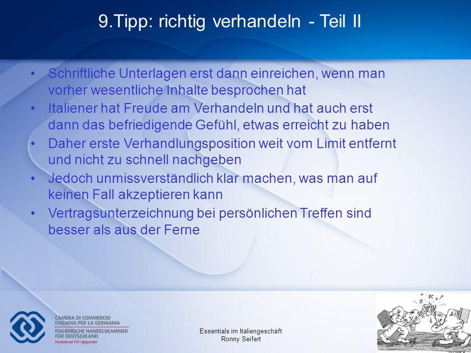 9.Tipp: richtig verhandeln - Teil II