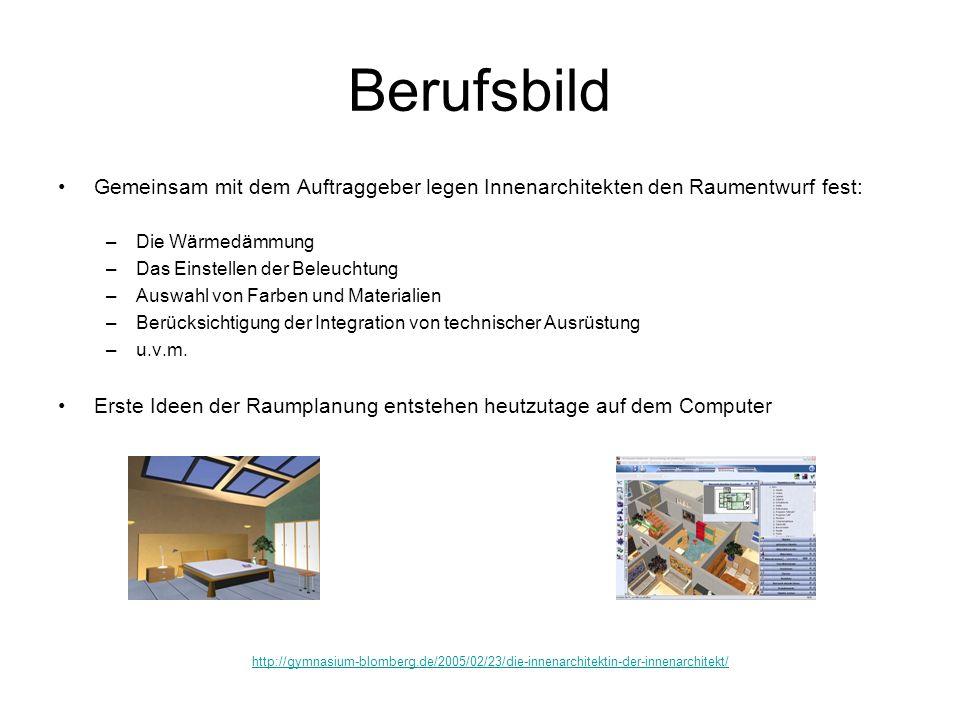 Berufsbild Gemeinsam mit dem Auftraggeber legen Innenarchitekten den Raumentwurf fest: Die Wärmedämmung.