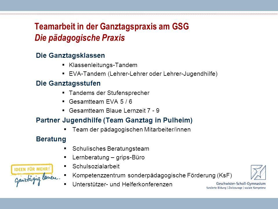 Teamarbeit in der Ganztagspraxis am GSG Die pädagogische Praxis