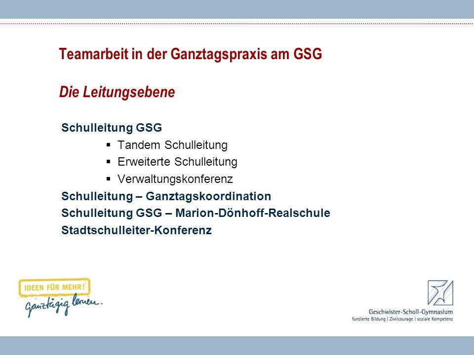 Teamarbeit in der Ganztagspraxis am GSG Die Leitungsebene