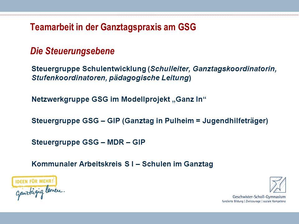 Teamarbeit in der Ganztagspraxis am GSG Die Steuerungsebene