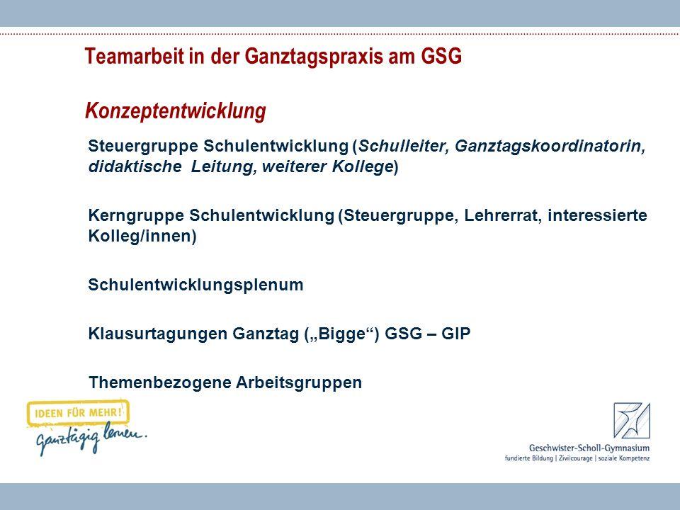 Teamarbeit in der Ganztagspraxis am GSG Konzeptentwicklung