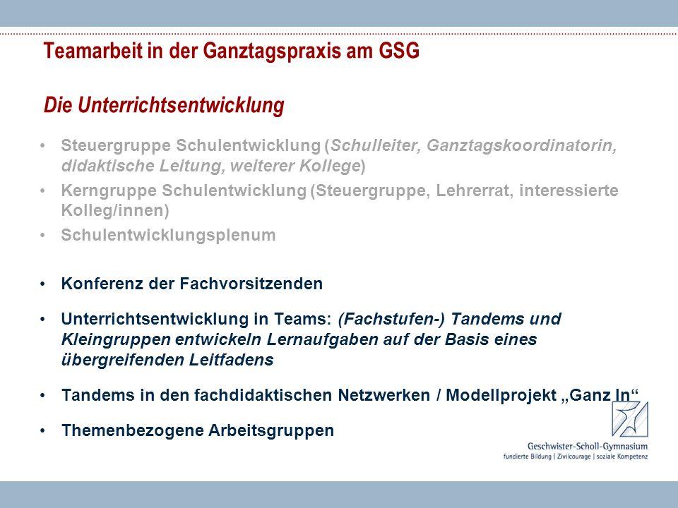 Teamarbeit in der Ganztagspraxis am GSG Die Unterrichtsentwicklung