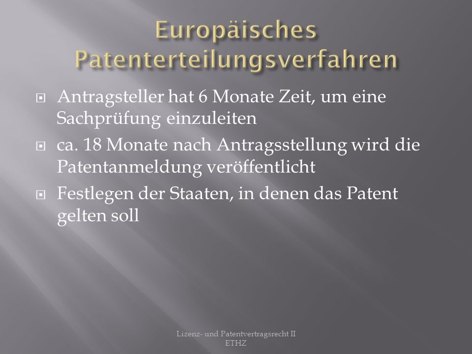 Europäisches Patenterteilungsverfahren