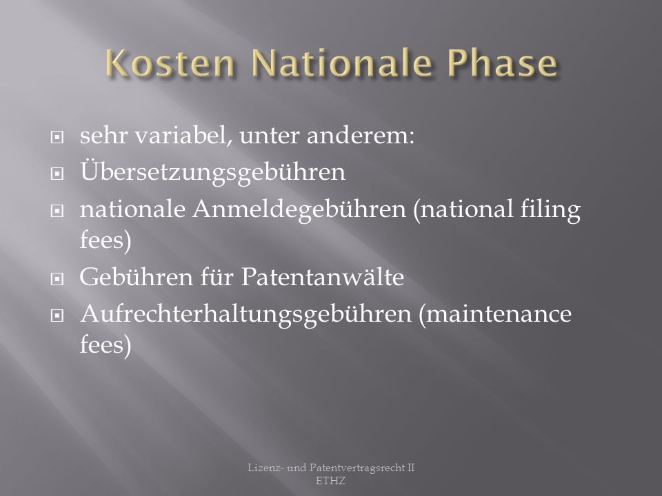Kosten Nationale Phase