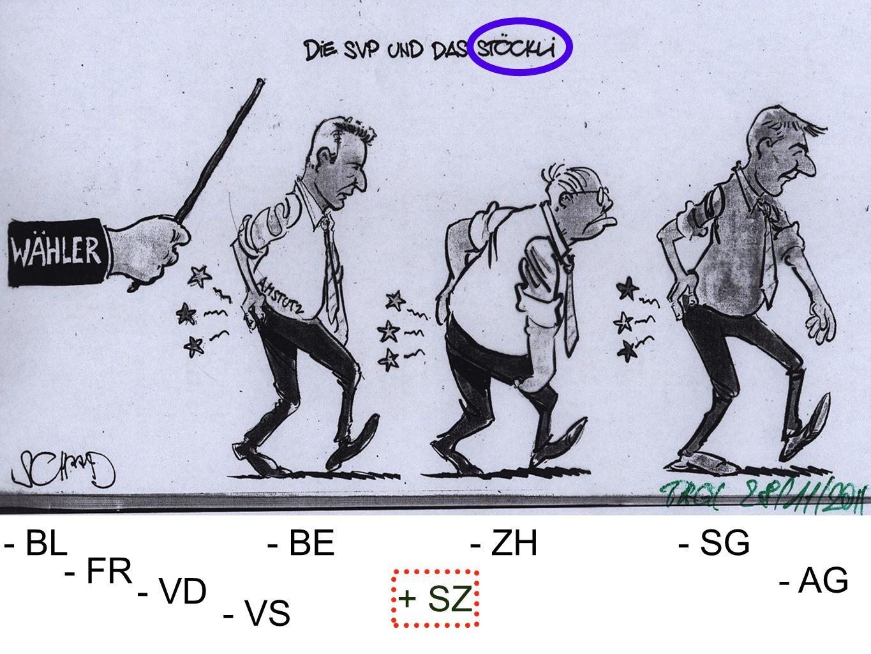 - BL - BE - ZH - SG - FR - AG - VD + SZ - VS