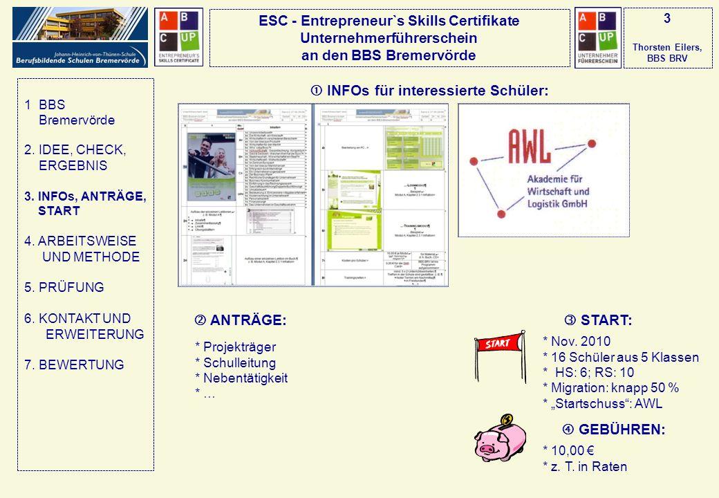 3 Thorsten Eilers, BBS BRV  INFOs für interessierte Schüler: