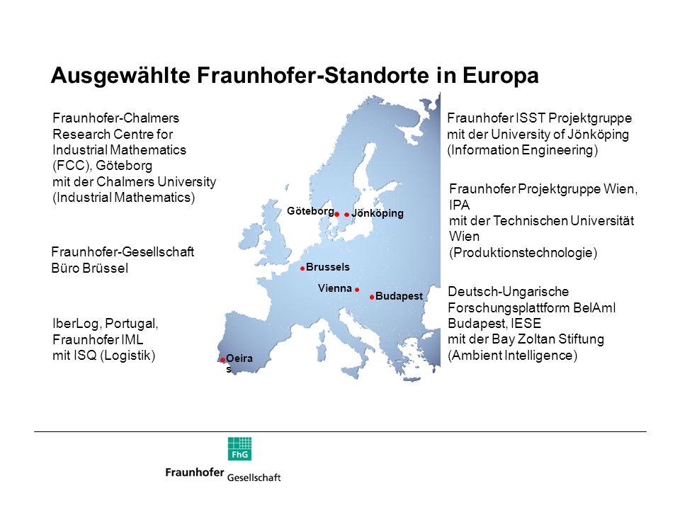 Ausgewählte Fraunhofer-Standorte in Europa