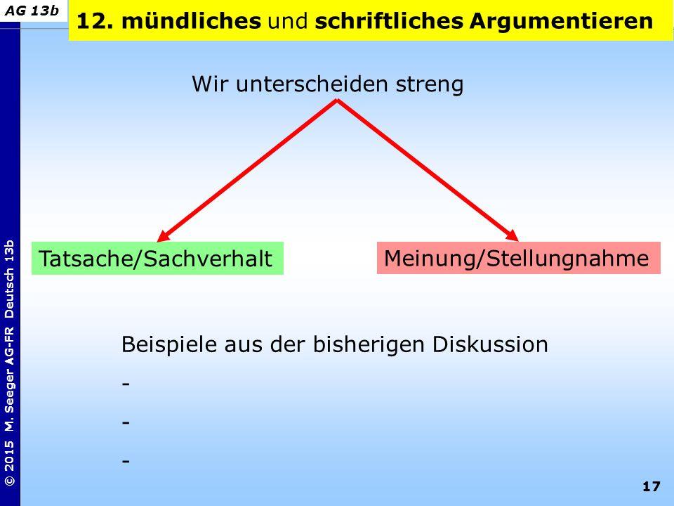 12. mündliches und schriftliches Argumentieren