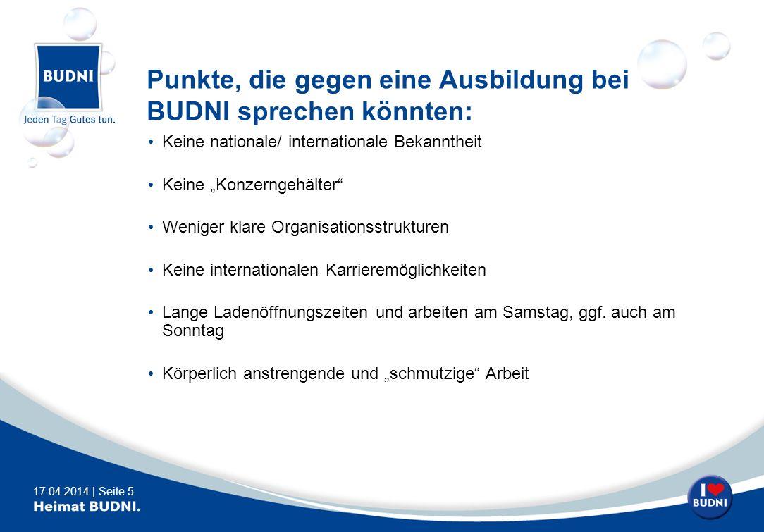 Punkte, die gegen eine Ausbildung bei BUDNI sprechen könnten: