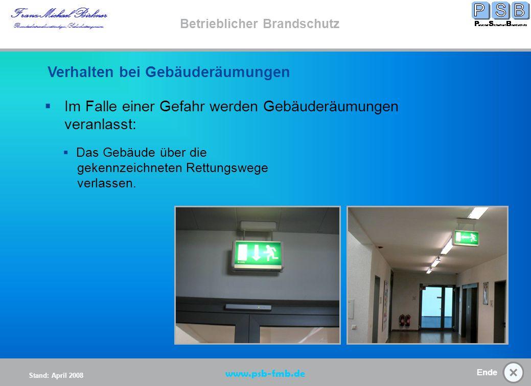 Verhalten bei Gebäuderäumung