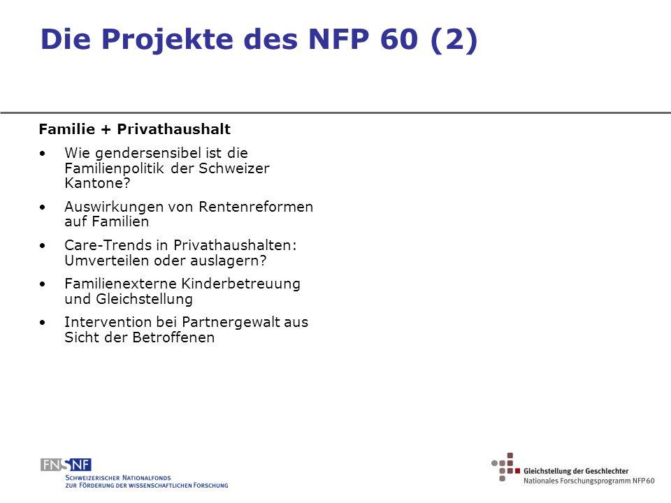 Die Projekte des NFP 60 (2) Familie + Privathaushalt