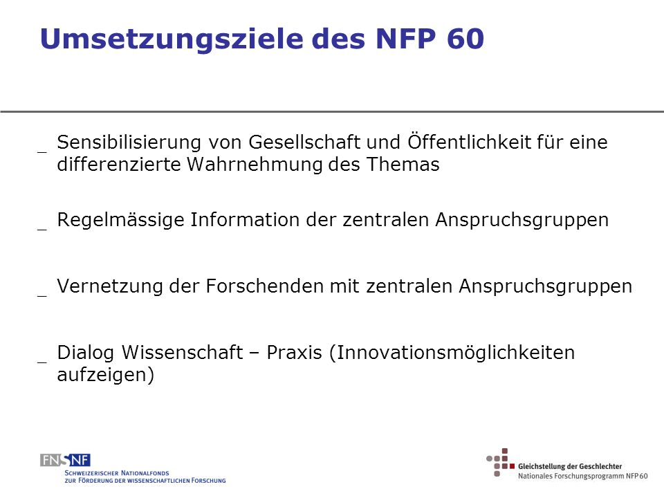 Umsetzungsziele des NFP 60