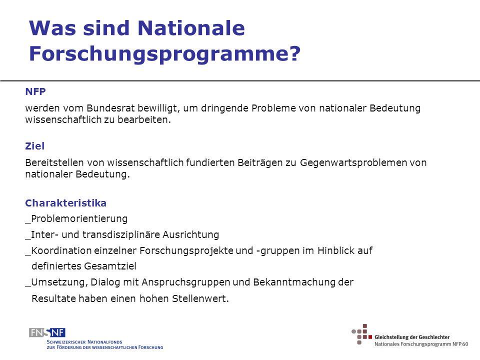 Was sind Nationale Forschungsprogramme
