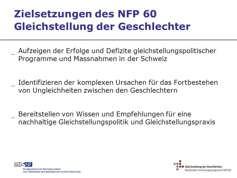 Zielsetzungen des NFP 60 Gleichstellung der Geschlechter