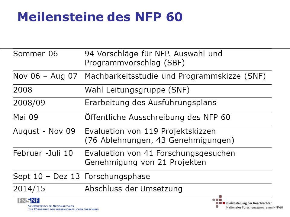 Meilensteine des NFP 60 Sommer 06