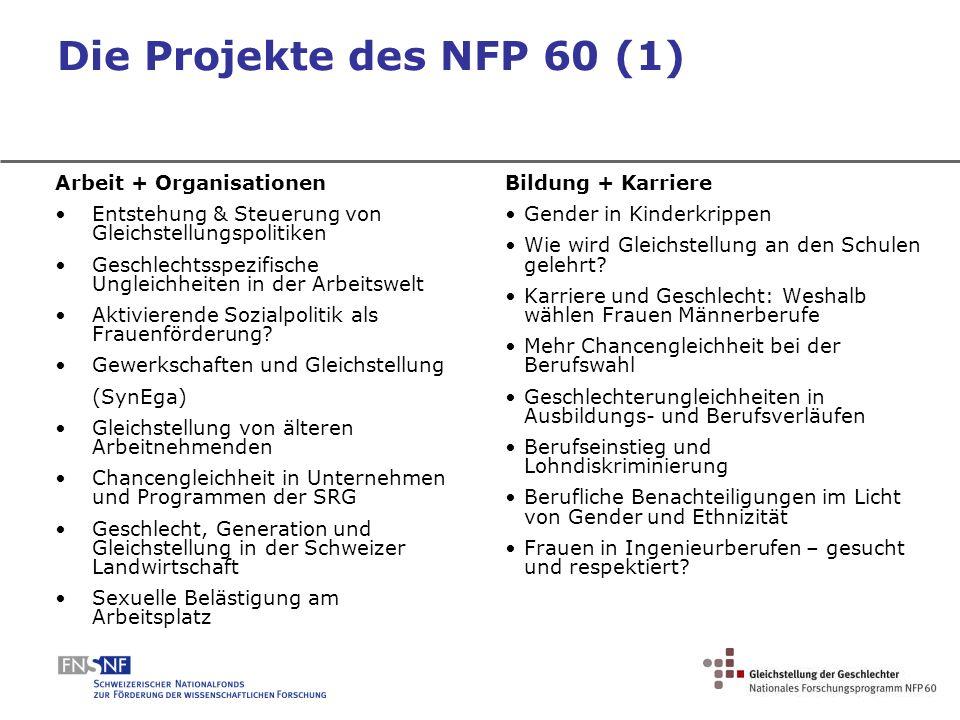 Die Projekte des NFP 60 (1) Arbeit + Organisationen