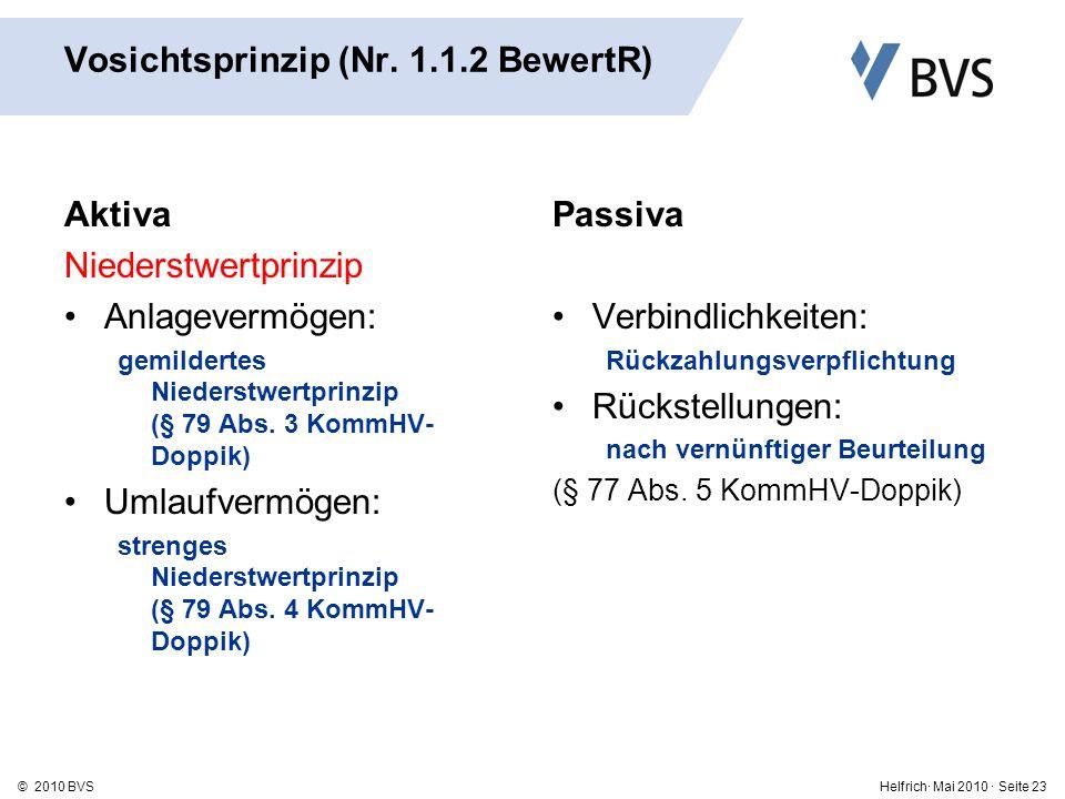Vosichtsprinzip (Nr. 1.1.2 BewertR)